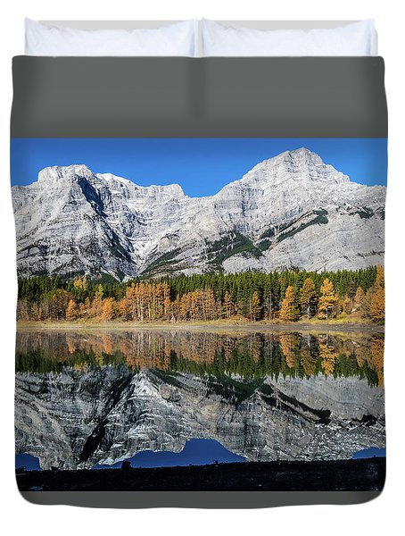 Rockies From Wedge Pond Under Late Fall Colours, Spray Valley Pr Duvet Cover