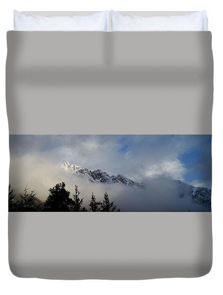 Rockies In The Clouds. Duvet Cover