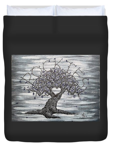 Duvet Cover featuring the drawing Rockies Love Tree by Aaron Bombalicki