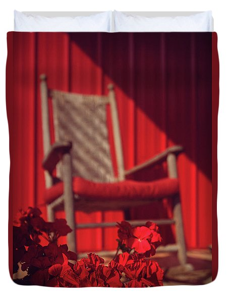 Duvet Cover featuring the photograph Rockin' Red by Jessica Brawley