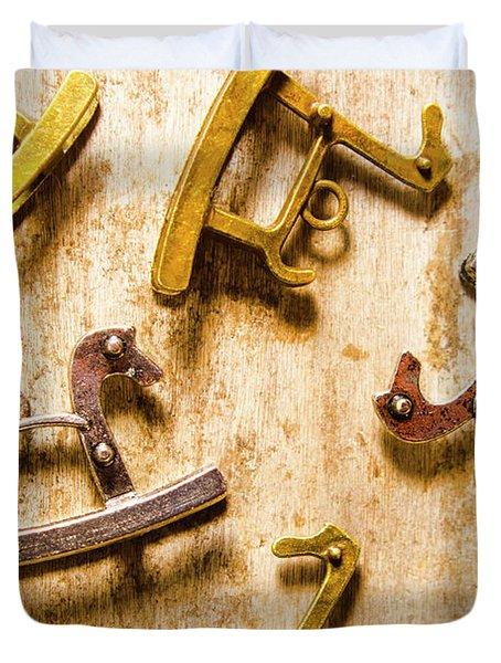 Rocking Horses Art Duvet Cover