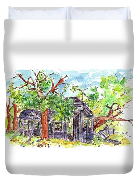 Duvet Cover featuring the painting Rockland Cabin by Cathie Richardson