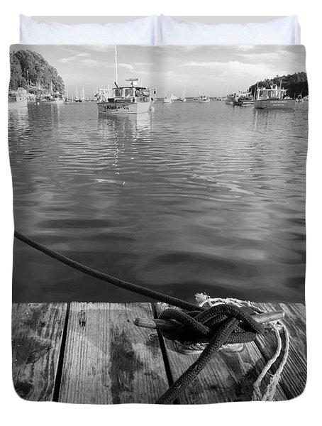 Rockport Harbor, Maine #80458-bw Duvet Cover