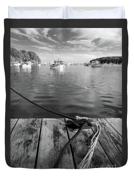 Rockport Harbor, Maine #80458-bw Duvet Cover
