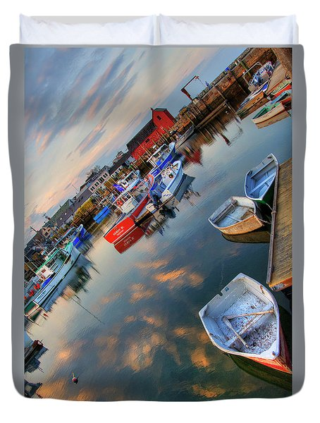 Duvet Cover featuring the photograph Rockport Harbor Motif #1  by Joann Vitali