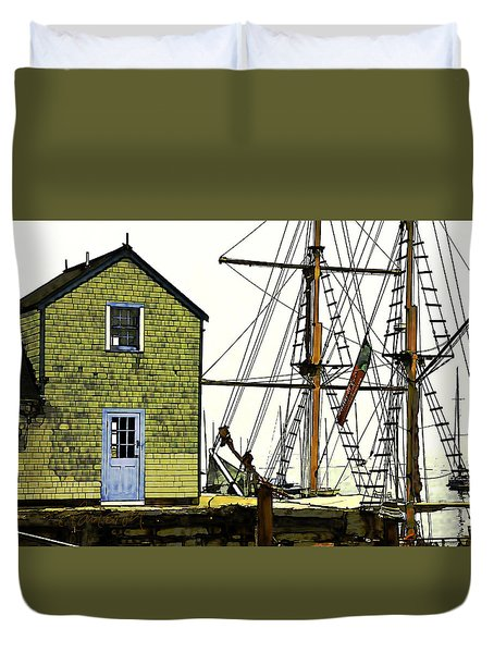 Duvet Cover featuring the photograph Rockport Harbor by Tom Cameron