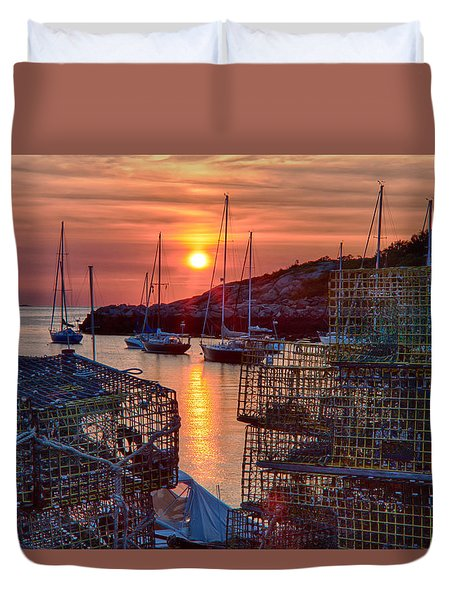 Duvet Cover featuring the digital art Rockport Lobster Pots And Sailboats At Sunrise by Jeff Folger