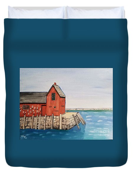 Rockport Motif In Winter Duvet Cover