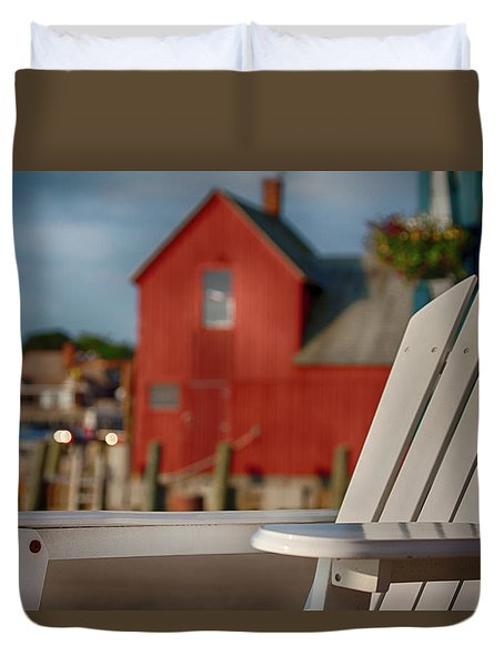 Duvet Cover featuring the photograph Rockport Wharf Sunrise by Jeff Folger