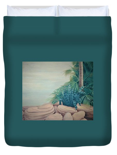 Rocks And Palm Tree Duvet Cover