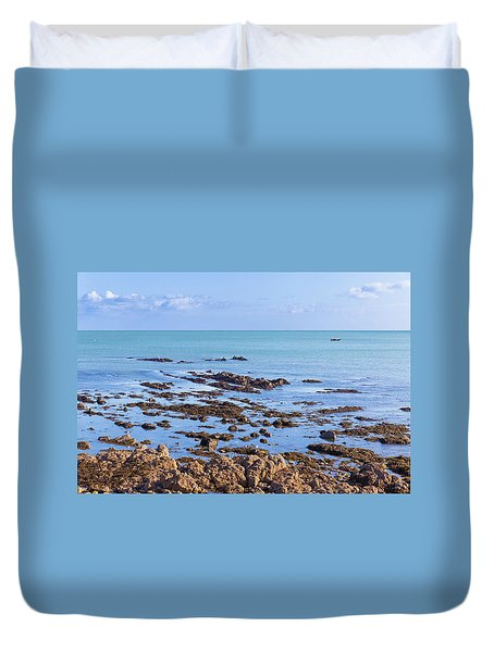 Duvet Cover featuring the photograph Rocks And Seaweed And Seagulls In The Irish Sea At Howth by Semmick Photo