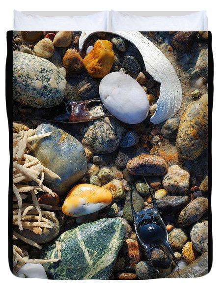 Rocks And Shells On Sandy Neck Beach Duvet Cover
