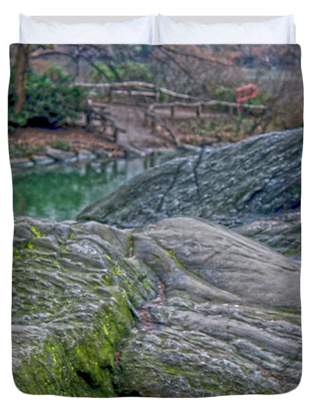 Duvet Cover featuring the photograph Rocks At Central Park by Sandy Moulder