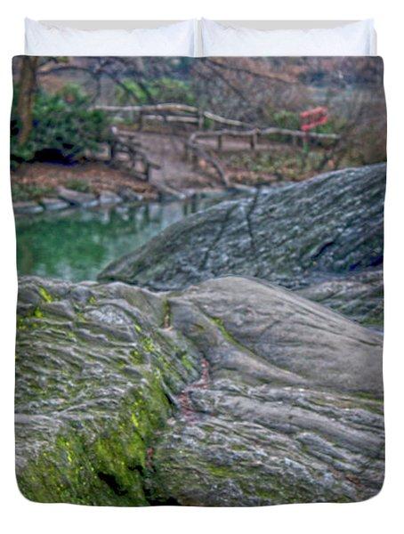 Rocks At Central Park Duvet Cover by Sandy Moulder