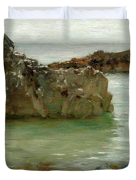 Duvet Cover featuring the painting Rocks At Newport by Henry Scott Tuke