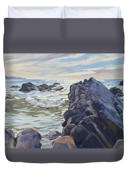 Duvet Cover featuring the painting Rocks At Widemouth Bay, Cornwall by Lawrence Dyer
