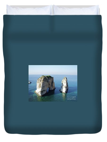 Rocks In Sea Duvet Cover
