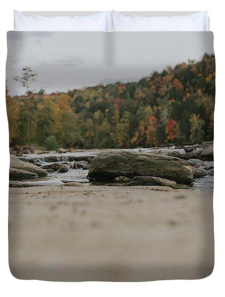 Rocks On Cumberland River Duvet Cover