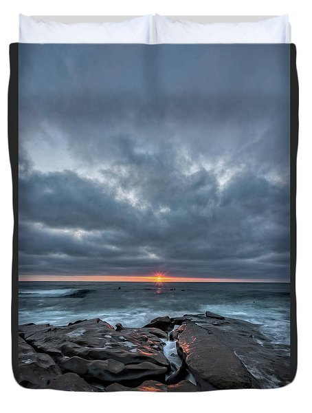 Rocks On Fire Duvet Cover by Peter Tellone