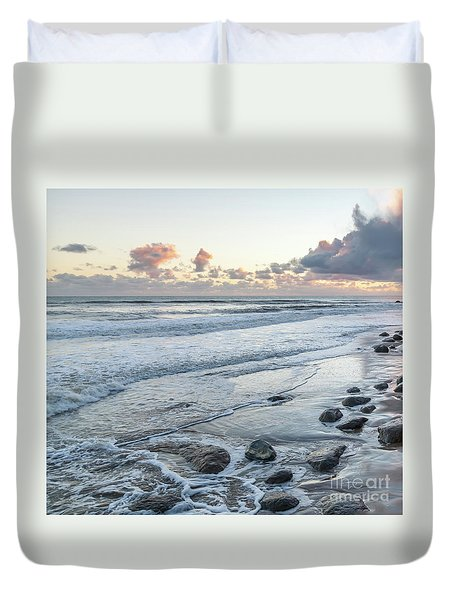 Rocks On The Beach During Sunset Duvet Cover