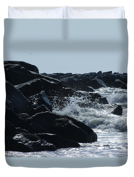 Rocks On The Jetti At Cocoa Beach Duvet Cover