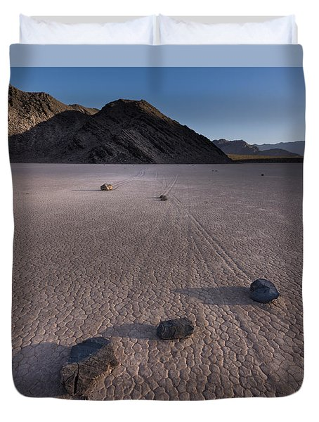 Rocks On The Racetrack Death Valley Duvet Cover