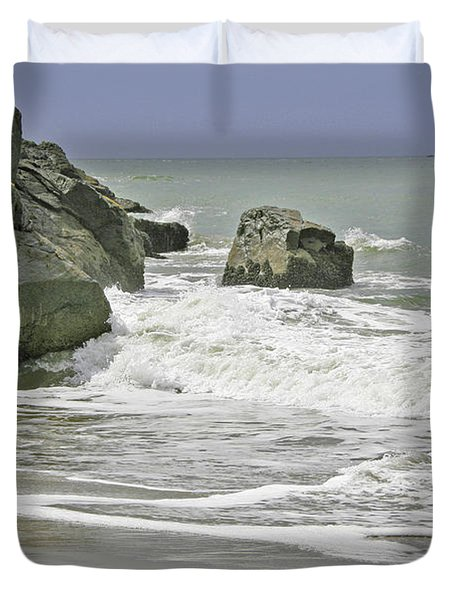 Rocks, Sand And Surf Duvet Cover