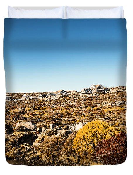 Rocky Alpine Village Duvet Cover