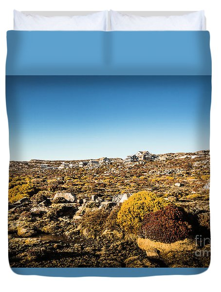 Rocky Alpine Village Duvet Cover