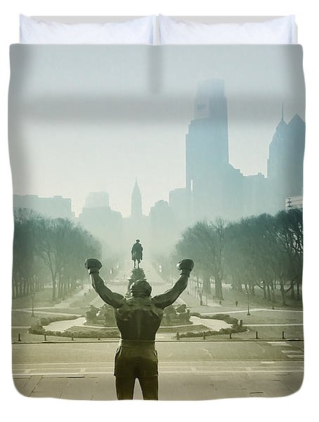 Rocky At The Top Of The Steps Duvet Cover by Bill Cannon