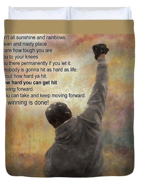 Rocky Balboa Inspirational Quote Duvet Cover