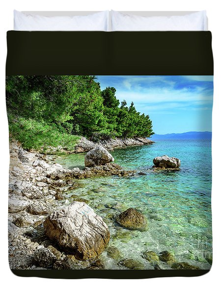 Rocky Beach On The Dalmatian Coast, Dalmatia, Croatia Duvet Cover