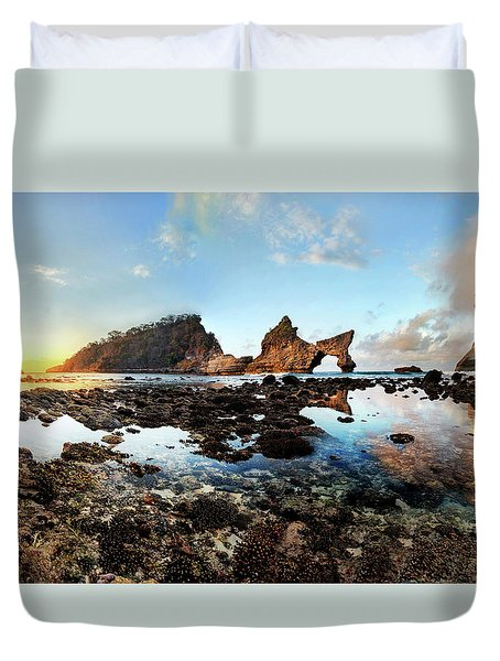 Duvet Cover featuring the photograph Rocky Beach Sunrise, Bali by Pradeep Raja Prints