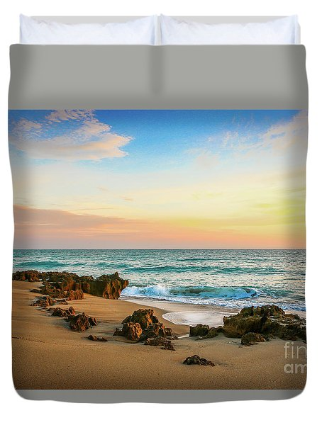 Duvet Cover featuring the photograph Rocky Beach by Tom Claud