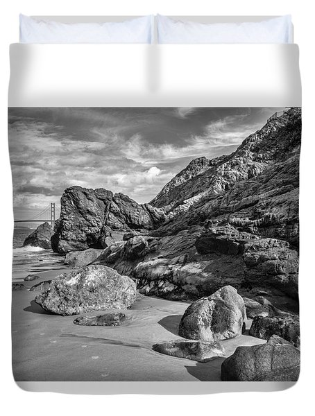 Rocky China Beach San Francisco Duvet Cover