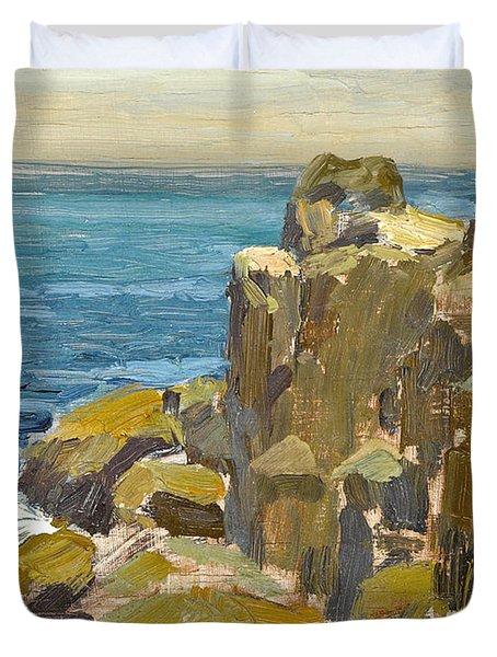 Rocky Cliffs Catalina Island Duvet Cover