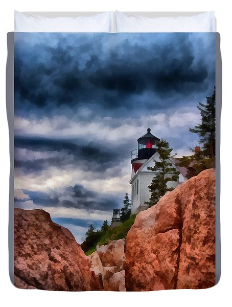 Duvet Cover featuring the photograph Rocky Crags Of Maine Lighthouse by Jeff Folger