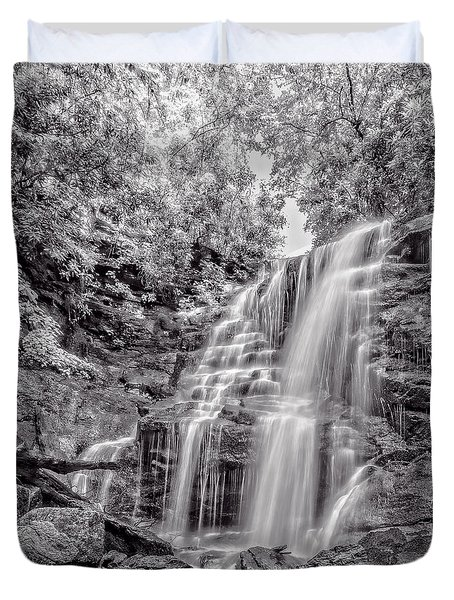 Duvet Cover featuring the photograph Rocky Falls - Bw by Christopher Holmes