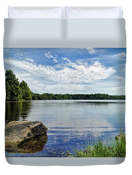 Rocky Fork Lake Duvet Cover by Cricket Hackmann