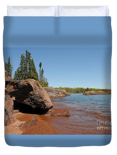 Duvet Cover featuring the photograph Rocky Lake Superior View by Sandra Updyke