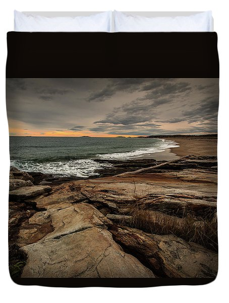 Rocky Maine Shoreline  Duvet Cover