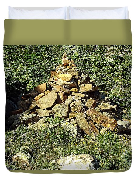 Rocky Mountain Cairn Duvet Cover by Joseph Hendrix
