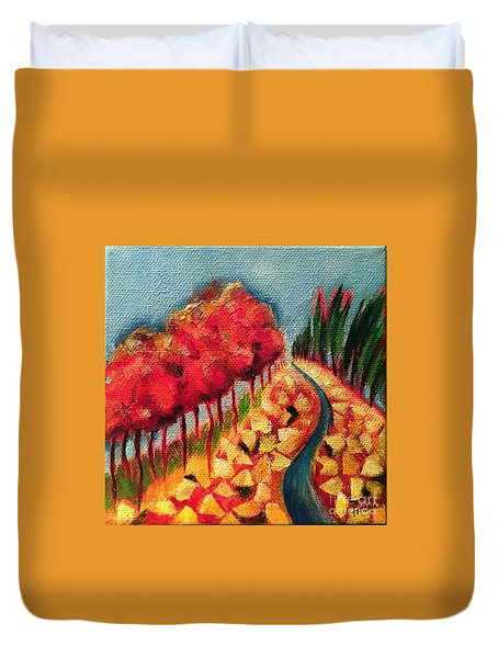 Duvet Cover featuring the painting Rocky Mountain by Elizabeth Fontaine-Barr
