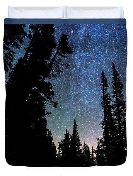 Duvet Cover featuring the photograph Rocky Mountain Forest Night by James BO Insogna