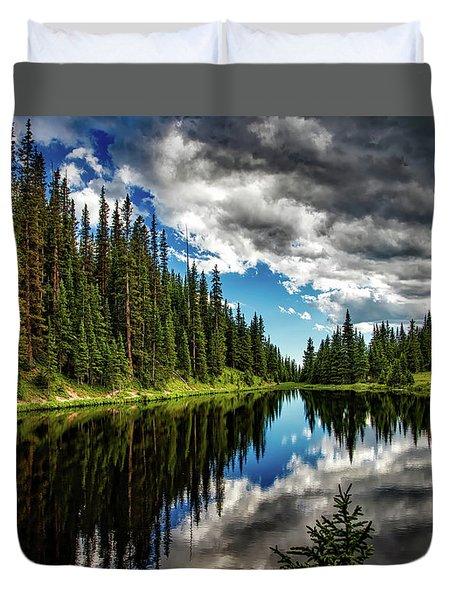 Rocky Mountain Lake Irene Duvet Cover