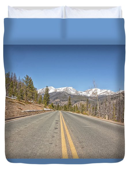Duvet Cover featuring the photograph Rocky Mountain Road Heading Towards Estes Park, Co by Peter Ciro