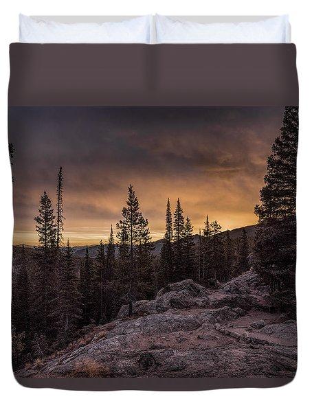 Rocky Mountain Skyfire Duvet Cover