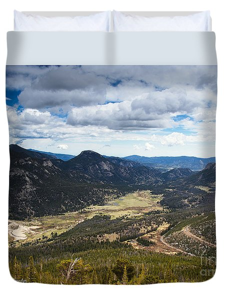 Rocky Mountain Storm Clouds Over The Valley Duvet Cover