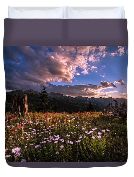 Rocky Mountain Summer Sunset Duvet Cover
