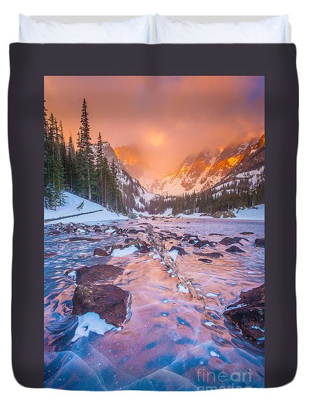 Rocky Mountain Sunrise Duvet Cover
